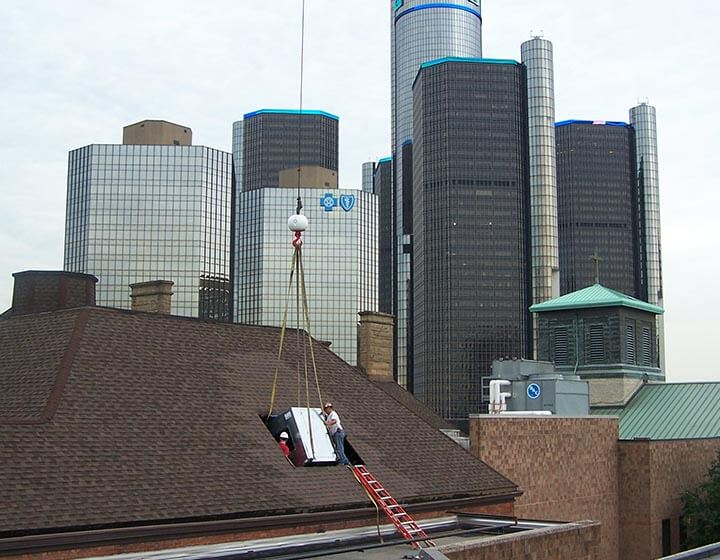 HVAC installation at University of Detroit required roof opening